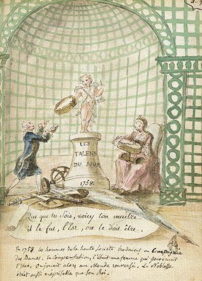 Caricature de Louis XV et de Madame de Pompadour - 1758