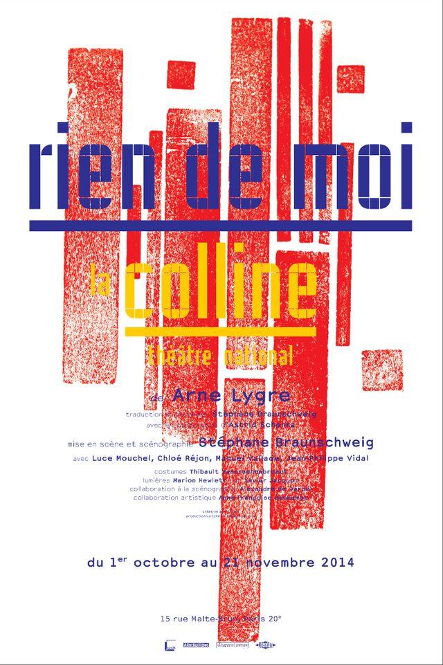 """Affiche """"Rien de moi""""d'Arne Lygre-Stéphane Braunschweig"""