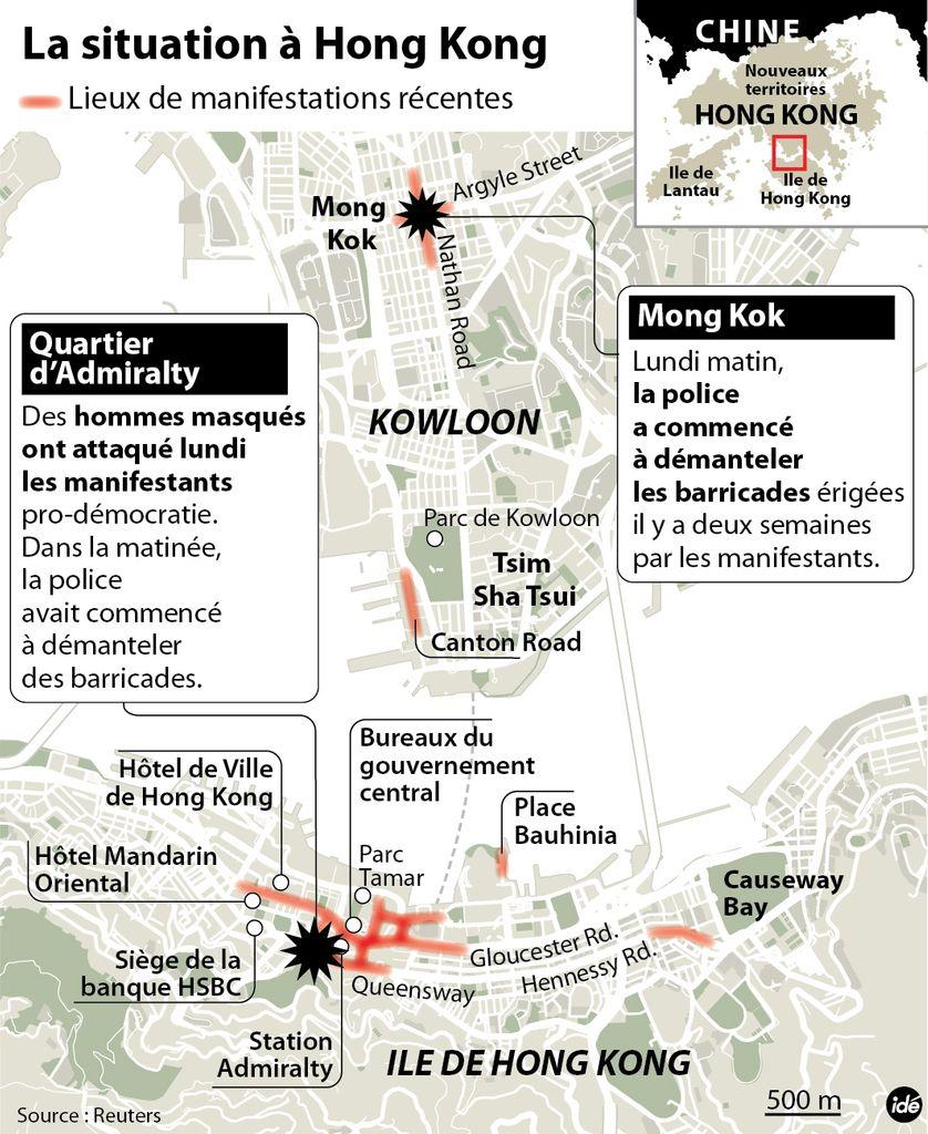 Hong Kong : des manifestants attaqués par des hommes armés