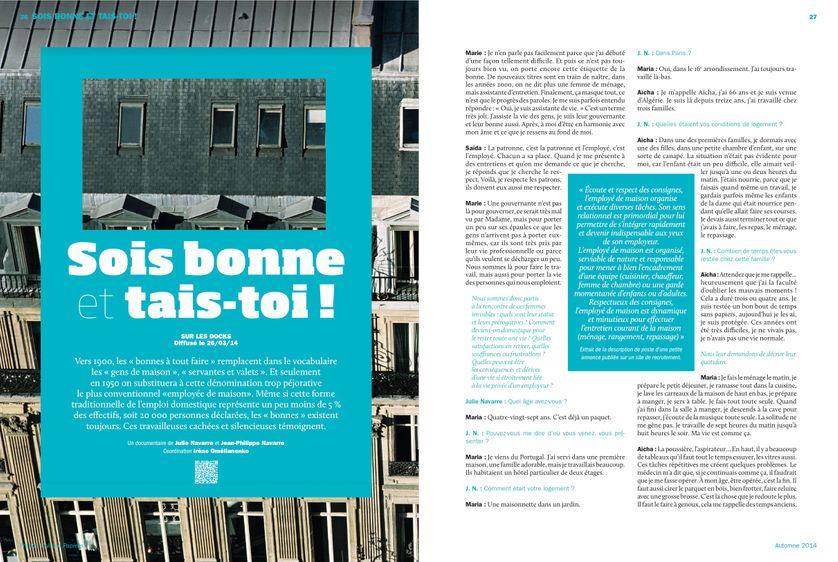 """""""Sois bonne et tais toi"""" Sur les Docks, page 26 France Culture Papiers n°11"""