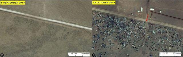 Au nord de Kobané, avant et après