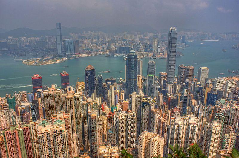 Vue de la baie de Hong-Kong, Chine, 2013