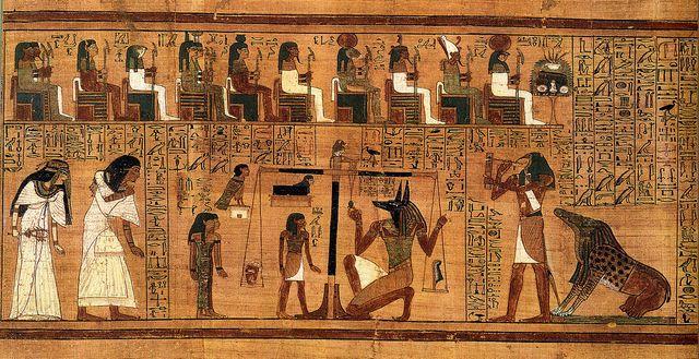 Scène de la pesée du coeur sur le Livre des Morts d'Ani - vers 1300 av.-J.C