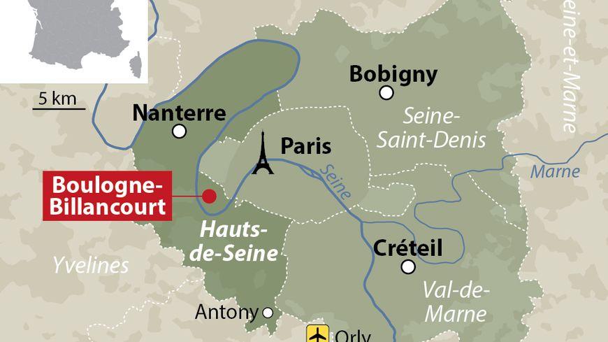 Carte de localisation de Boulogne-Billancourt
