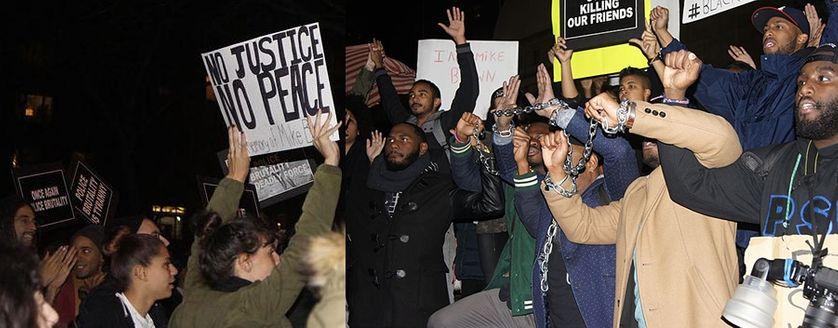 Manifestations à New York, contre l'injustice, suite à l'assassinat de Michaël Brown à Ferguson, 25 nov.2014