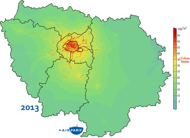 Carte de la pollution en Ile de France en 2013