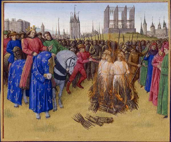 Le Supplice des Amauriciens par Jean Fouquet - Les Grandes Chroniques de France - XVème siècle
