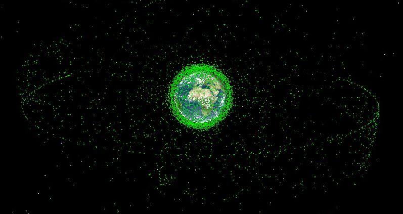 Une représentation des débris spatiaux autour de la Terre