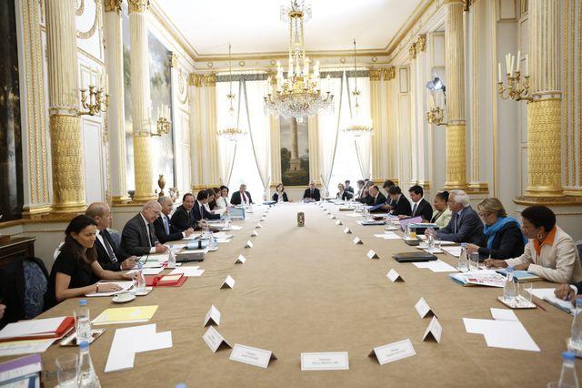 Au palais de l''Elysee, dans la salle du Conseil des Ministres