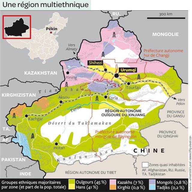Carte du Xinjiang ou Turkestan Oriental, Chine