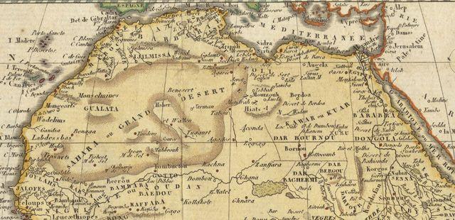 Carte du Sahara vers 1800 par Aaron Arrowsmith