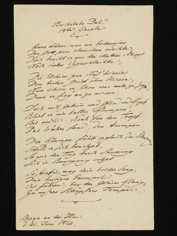 Johann Wolfgang von Goethe, Hans Adam war ein Erdenklos, 1814