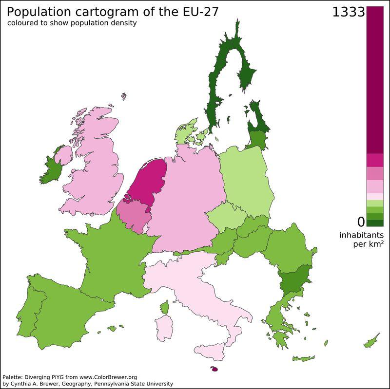 cartogram of population density in the EU