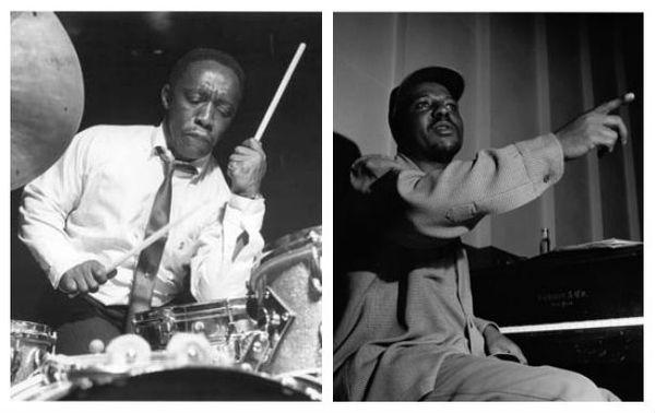 """Art Blakey pendant la session """"Leeway"""" de Lee Morgan le 28 avril 1960 au Van Gelder Studio, Hackensack, New Jersey / Thelonious Monk lors de la session """"Thelonious Monk Sextet"""" du 30 mai 1952 aux WOR Studios, New York City"""