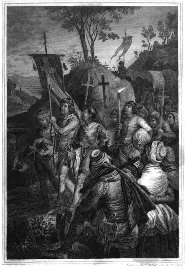 La Croisade des enfants de 1212 - Gravure de Johann Jakob Kirchhoff - 1843