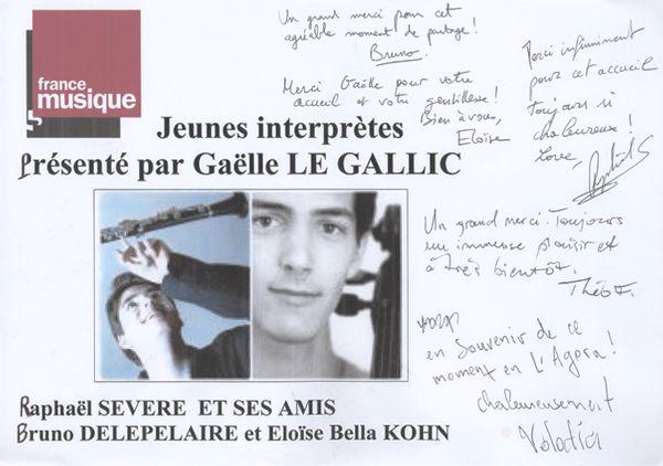 livre d'or de Génération jeunes interprètes du 15-11-2014