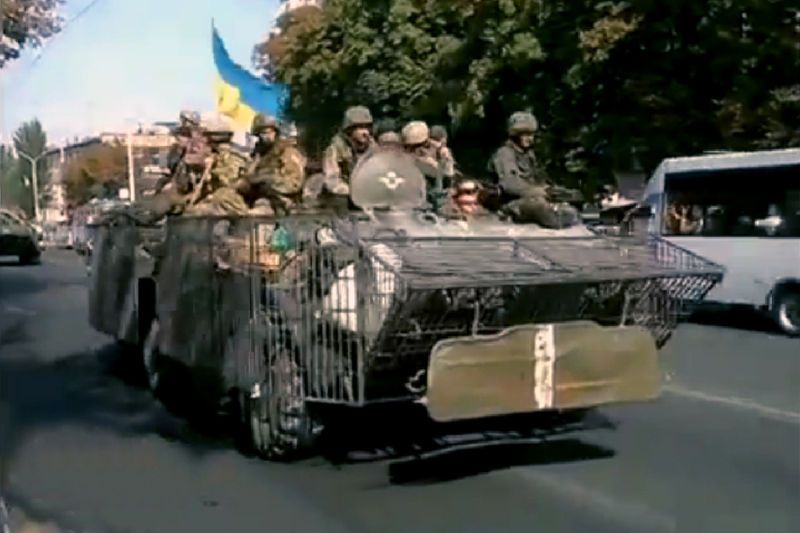 Ukrainian army armoured personal carrier in Mariupol (Donetsk, 5 sept 2014)