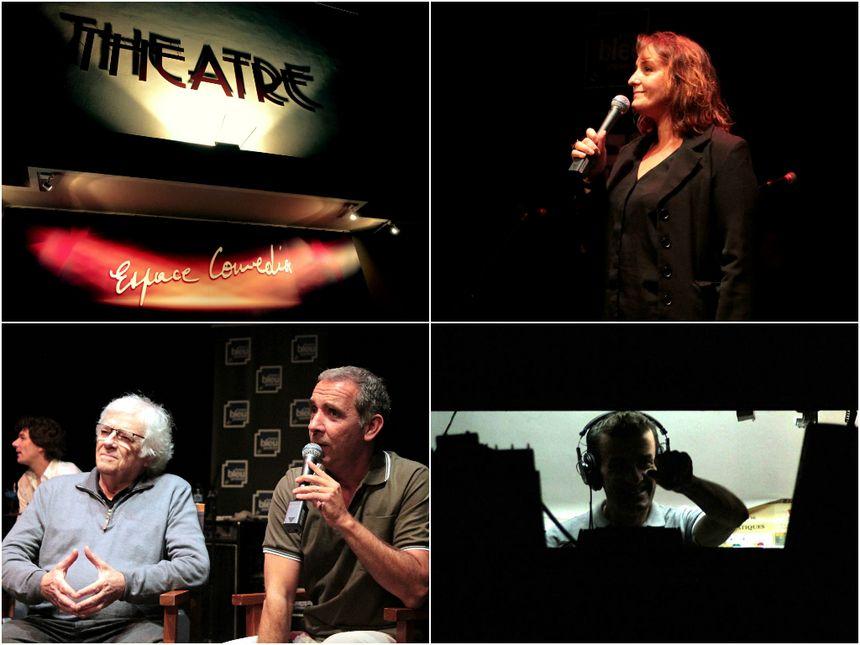 Nathalie Coursac, Yann Denis en technique, Eric Marone et André Neyton, le directeur de l'Espace Comédia de Toulon