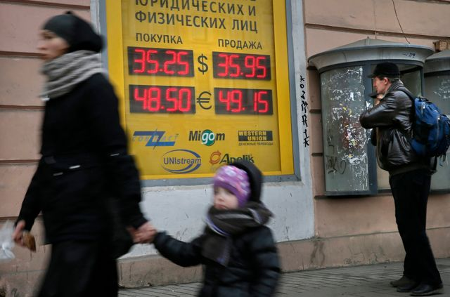 Le rouble en baisse par rapports aux autres monnanies
