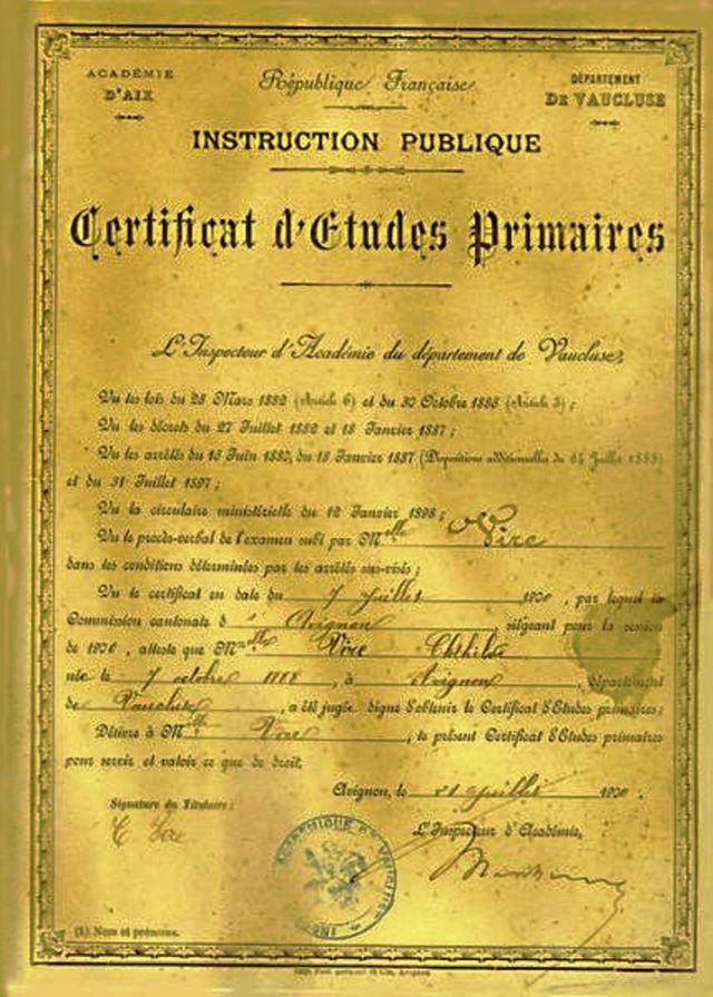 Certificat d'études primaires en 1901
