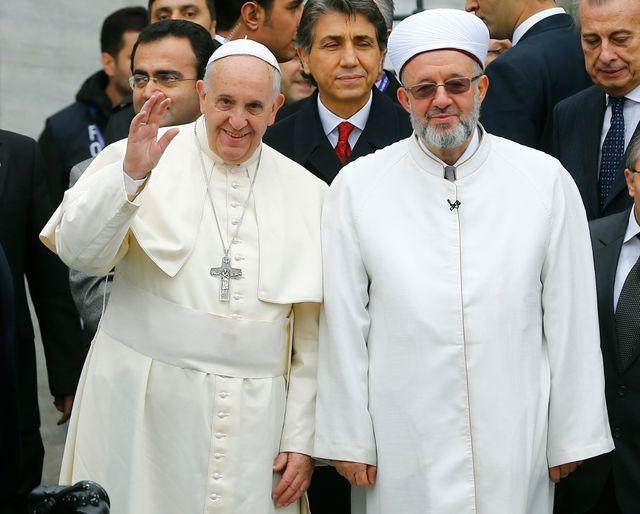 Le pape François et le Mufti d'Istanbul, Rahmi Yaran