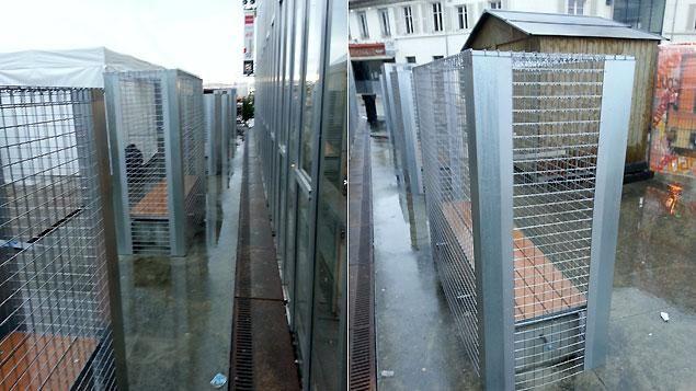Les grillages disposés autour des neuf bancs.