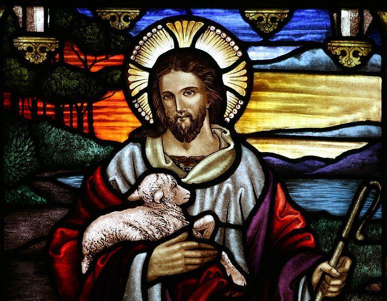 Le Christ, Bon Pasteur. Vitrail d'A. Handel, église anglicane Saint-Jean-Baptiste-d'Ashfield (Australie)