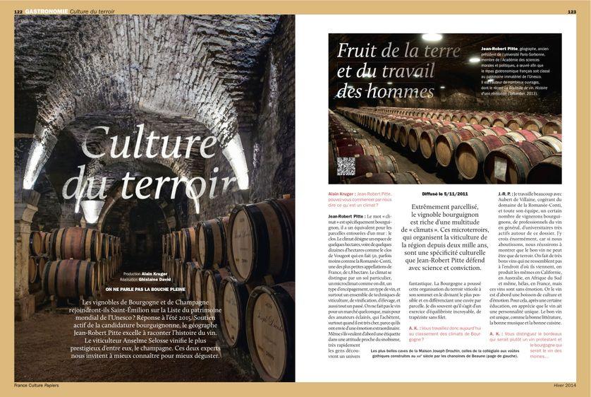 """""""Culture du terroir"""", Vins de Bourgogne, pages 122 à 127"""