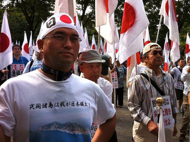 Le groupe nationaliste d'extrême-droite nippon Ganbare lors d'une manifestation pour la souveraineté des îles Senkaku en 2013