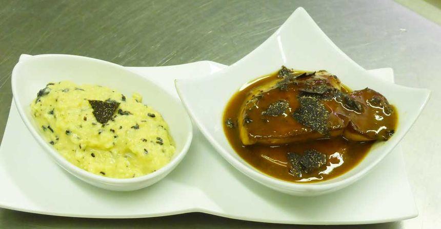 Brouillade à la truffe et foie gras poêlé.