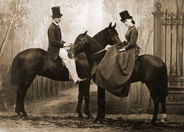 Le Prince Achille Murat et Cora Pearl, 1865, tirage photographique moderne d'après plaque de verre