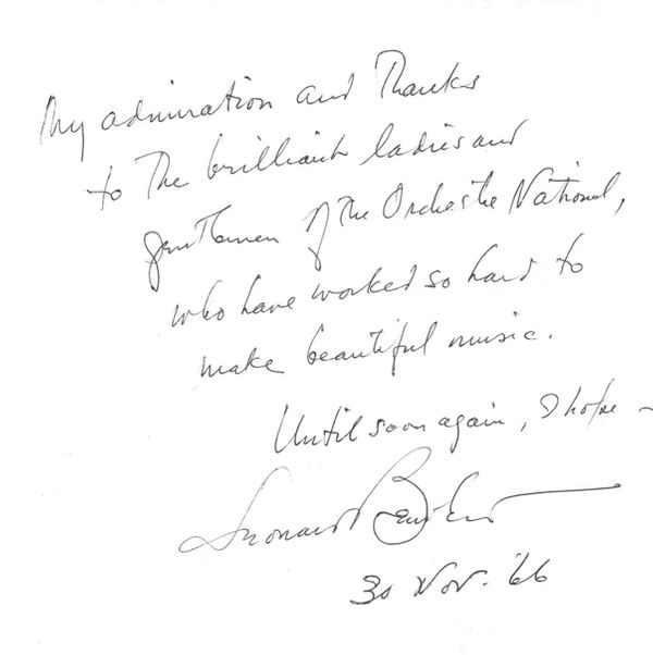 Dédicace de Leonard Bernstein à l'ONF 1966