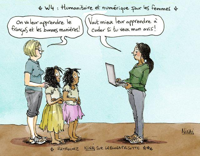 humanitaire et numérique - dessin Nina Luec pour les femmes tte une histoire