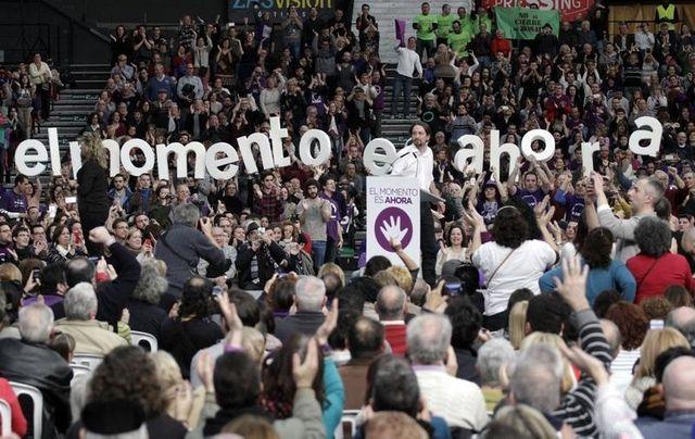 Le secrétaire général de Podemos, Pablo Iglesias, en meeting à Valence le 25 janvier 2015