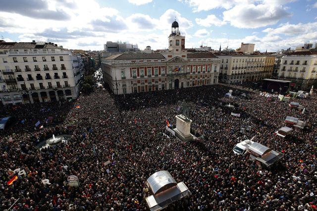 Des dizaines de milliers d'Espagnols ont manifesté à Madrid.