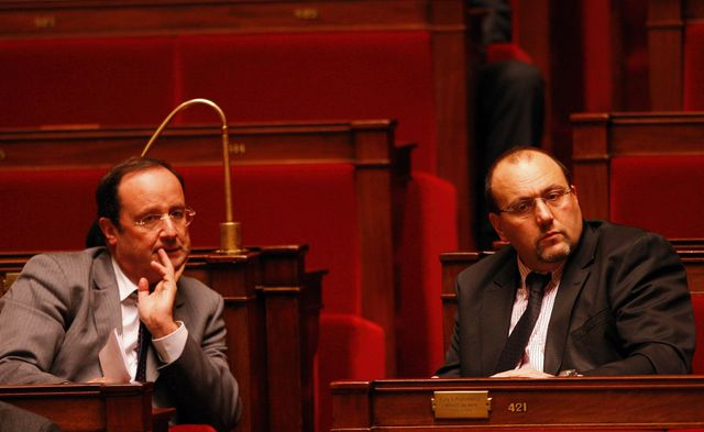 François Hollande et Julien Dray à l'Assemblée nationale