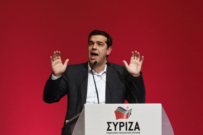 Le leader de Syriza, Alexis Tsipras, en meeting