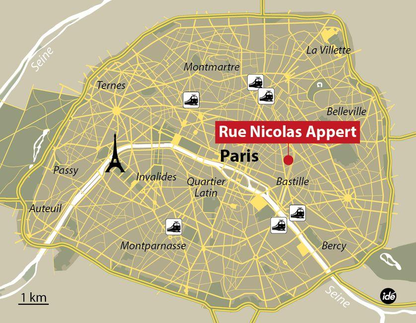 Lieu de la fusillade à Charlie Hebdo, à Paris