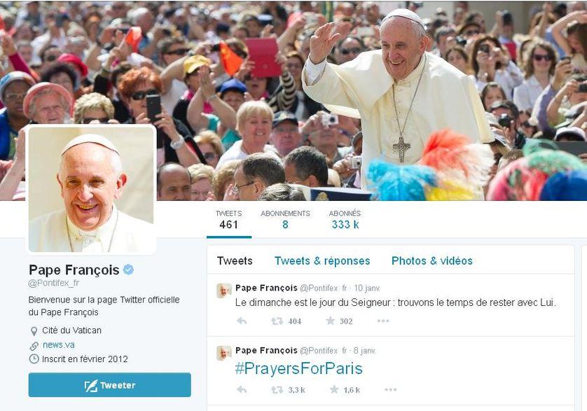 """Capture d'écran, compte """"Twitter"""" du Pape François, 12 janvier 2015"""