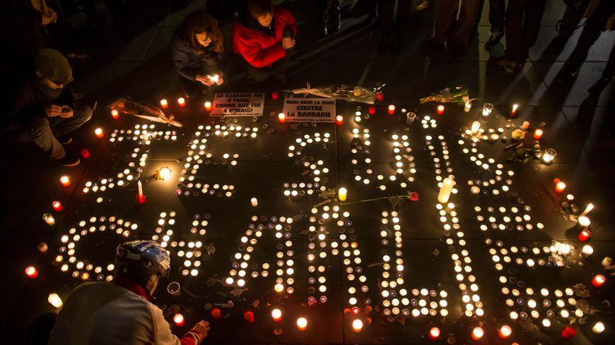 Un rassemblement de soutien après l'attentat contre Charlie Hebdo