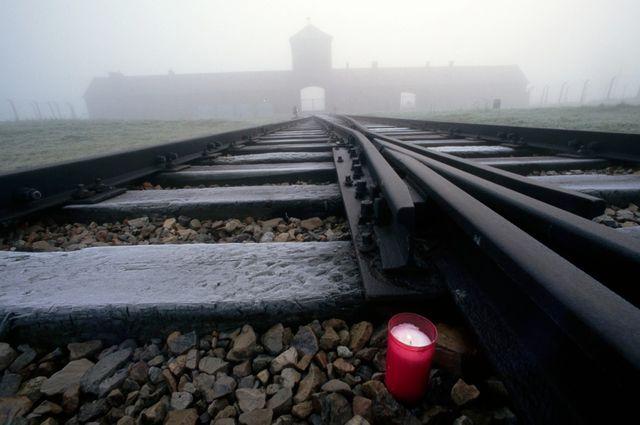 Les rails qui mènent au camp d'Auschwitz2
