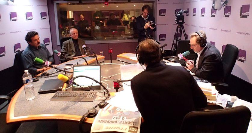 De gauche à droite : Edwy Plenel, Axel Khan, Brice Couturier et Marc Voinchet