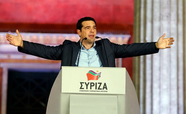 Alexis Tsipras après son discours de victoire