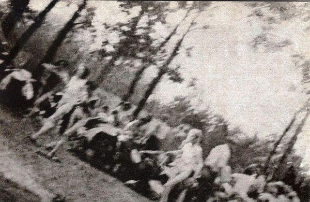 Anonyme (membre du Sonderkommando d'Auschwitz),  Crémation de coprs gazés des fosses d'incinération  à l'air libre, devant la ch