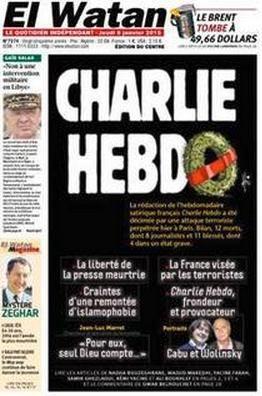 Une du journal El Watan sur Charlie Hebdo, 8 janvier 2015