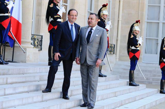 François Hollande avec le roi du Maroc, Mohammed VI, le 24 mai 2012.