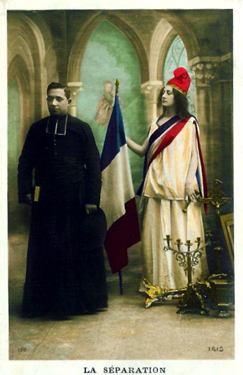 Allégorie de la loi française de Séparation de l'Eglise et de l'Etat (1905)