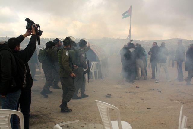 manifestation dispersée par l'armée israélienne