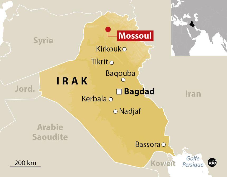 Carte de localisation de Mossoul