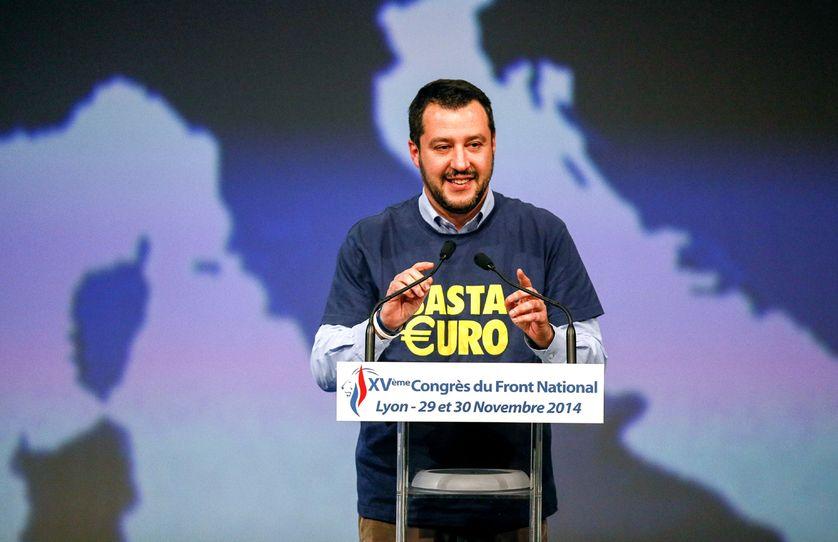 Matteo Salvini, de la Ligue du nord italienne, à Lyon, en novembre 2014, au congrès du Front national
